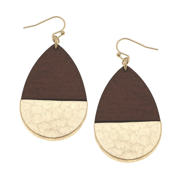 19858E-BR Wood Hinged Hammered Teardrop Earrings by Crave