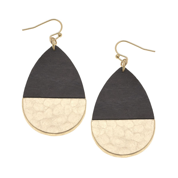 19858E-GY Grey Wood Hinged Hammered Teardrop Earring by Crave