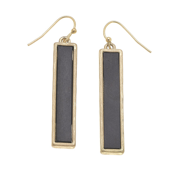 19860E-GY Wood Bar Linear Earrings by Crave