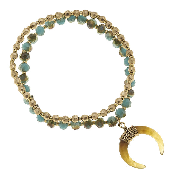 Layered Glass Double Horn Bracelet in Aqua