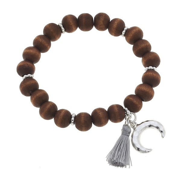 Wood Double Horn Tassel Bracelt in Brown