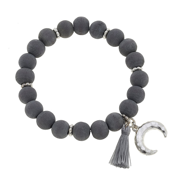 Wood Double Horn Tassel Bracelet in Grey