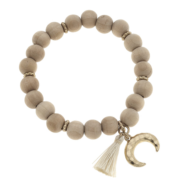 Wood Double Horn Tassel Bracelet in Natural
