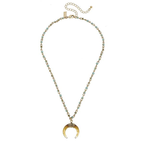 Linked Glass Double Horn Necklace in Aqua