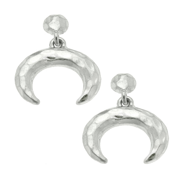 Double Horn Stud Earrings in Worn Silver