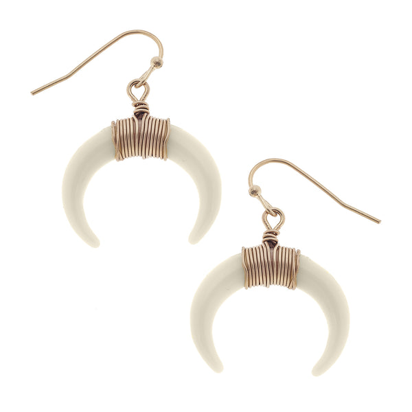 Wire-Wrapped Double Horn Earrings in Ivory