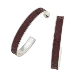 Paola Hoop Earrings in Burgundy Leather