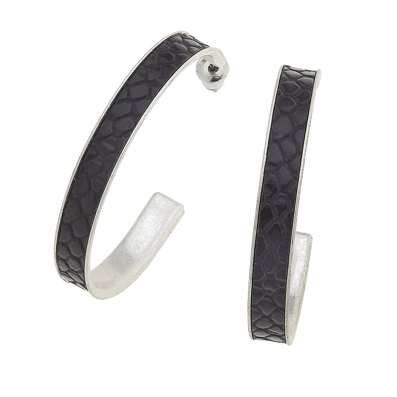 Paola Hoop Earrings in Black Leather
