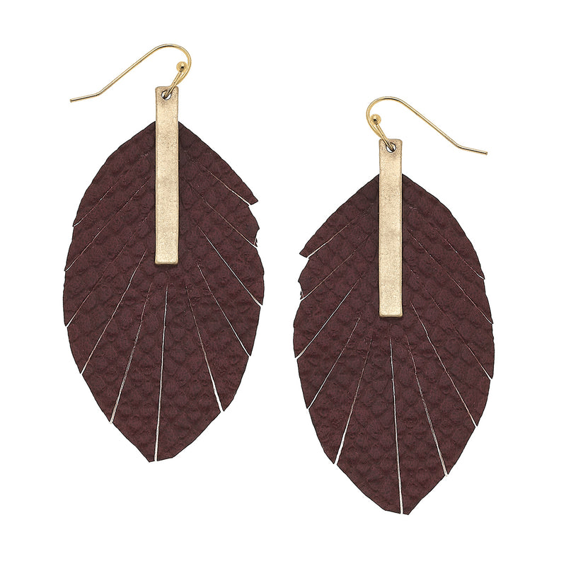 Python Embossed Feather Earrings in Burgundy Leather