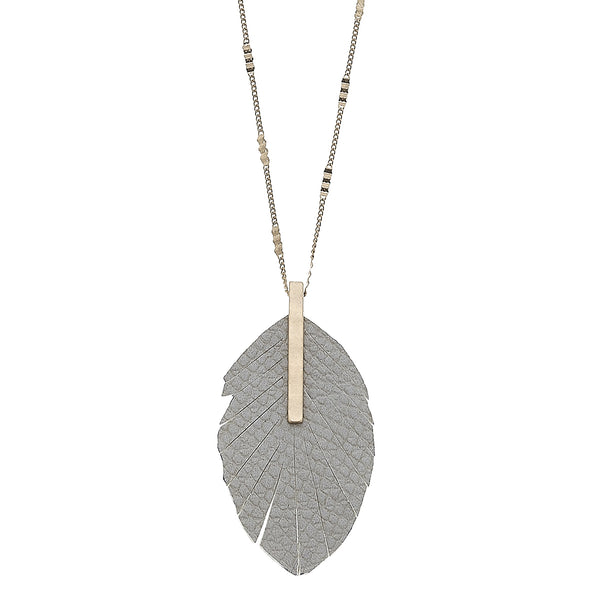 Python Embossed Feather Pendant Necklace in Grey Leather