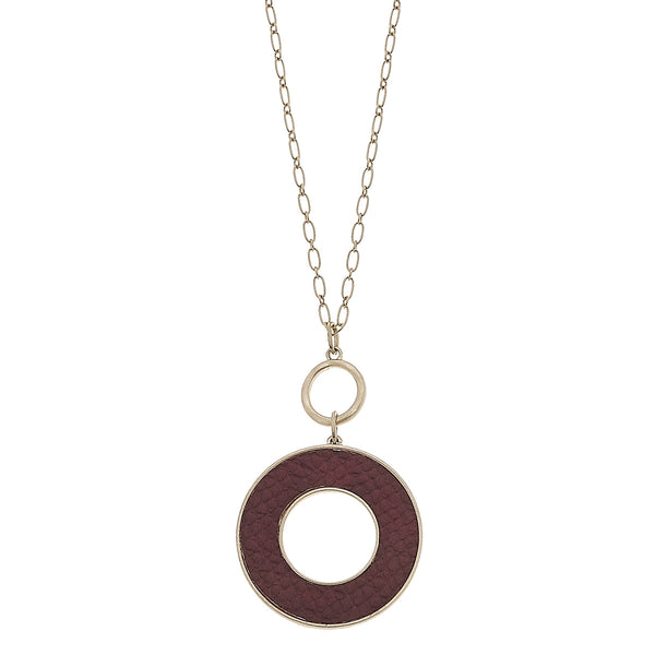 Burgundy Python Leather Open Circle Pendant in Worn Gold