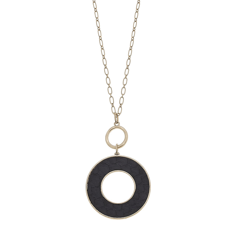 Black Python Leather Open Circle Pendant in Worn Gold