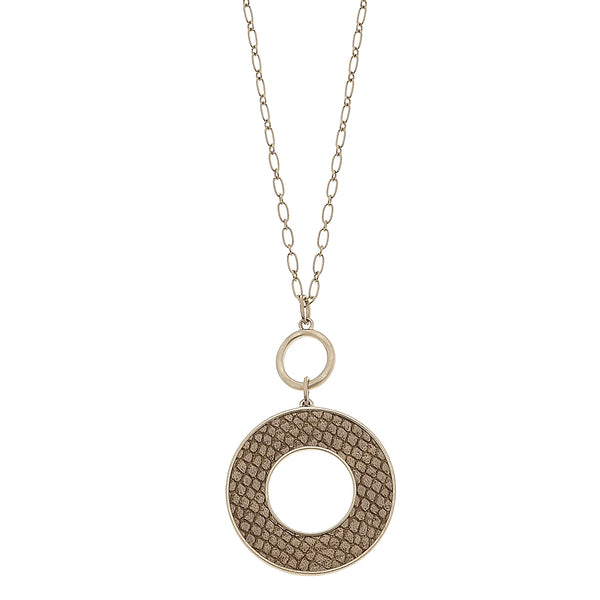 Camel Python Leather Open Circle Pendant in Worn Gold