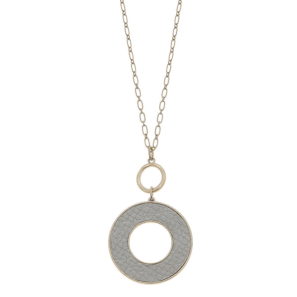 Grey Python Leather Open Circle Pendant in Worn Gold