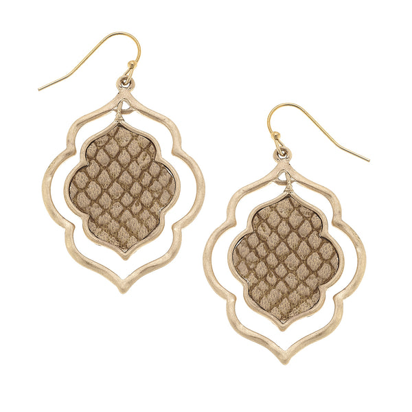 Python Embossed Quatrefoil Drop Earrings in Black