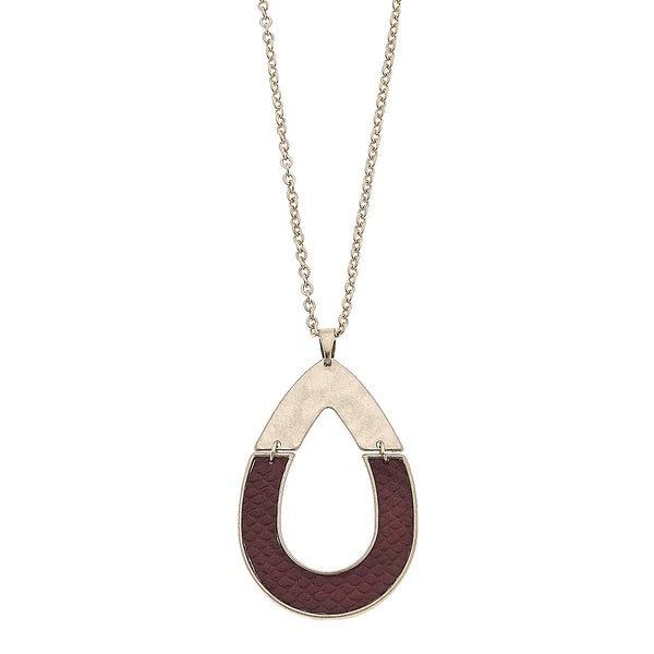 Python Leather Half Teardrop Pendant in Burgundy