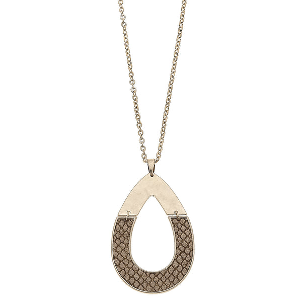 Python Leather Half Teardrop Pendant in Brown