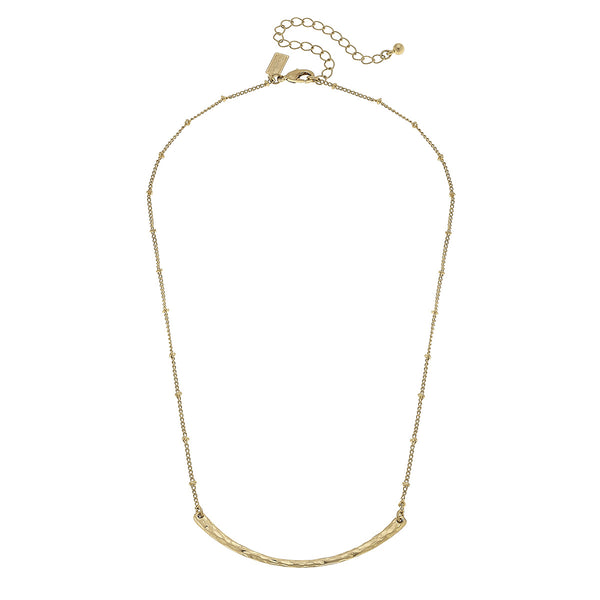 Halle Curved Bar Necklace in Worn Gold