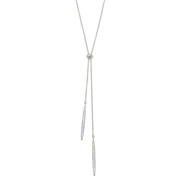 Milan Lariat Necklace in Worn Silver