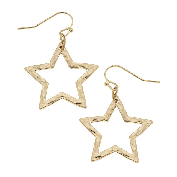 Medium Star Drop Earrings in Worn Gold by Crave