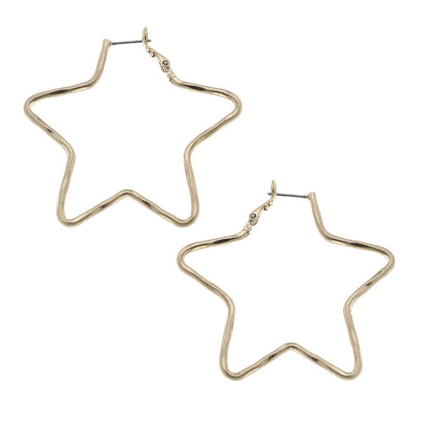 Star-Shaped Hoop Earrings in Worn Gold by Crave