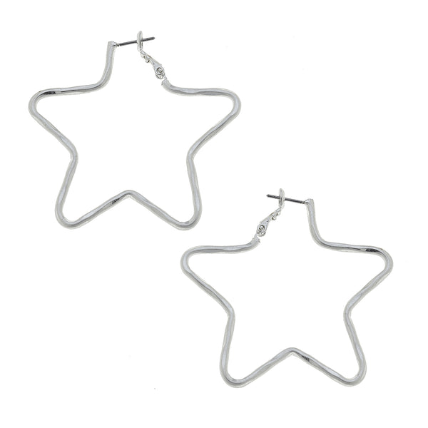 Star-Shaped Hoop Earrings in Worn Silver by Crave