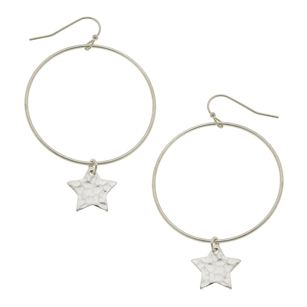 Star Drop Hoop Earrings in Worn Silver by Crave