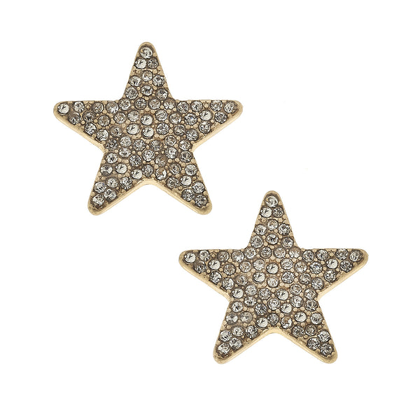 Star Pavé Stud Earrings in Worn Gold by Crave