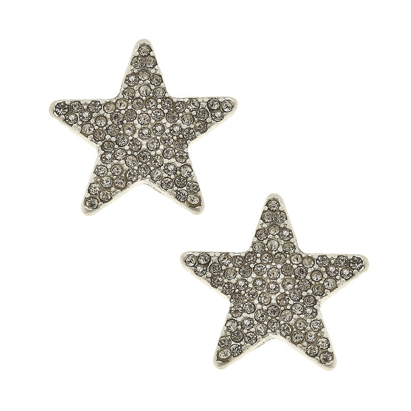 Star Pavé Stud Earrings in Worn Silver by Crave