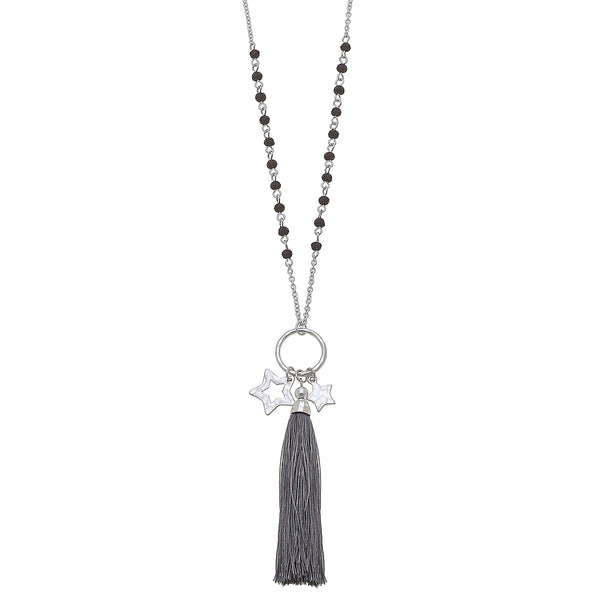 Star Charm Grey Tassel Glass Pendant in Worn Silver by Crave