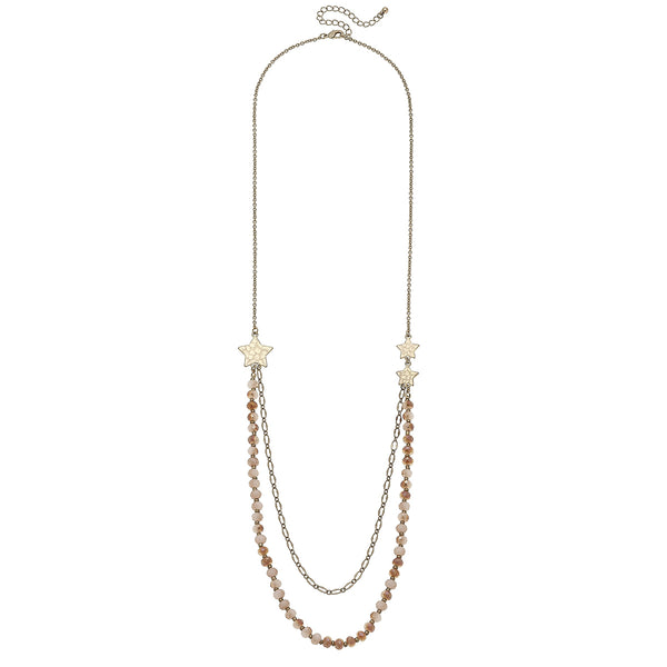 Star And Glass Bead Ivory Station Necklace
