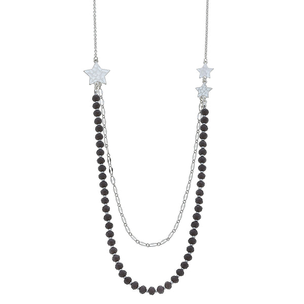 Layered Grey Glass Star Necklace by Crave