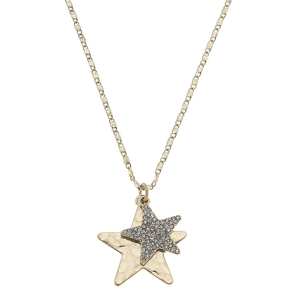 Star Pavé Charm Necklace in Worn Gold by Crave