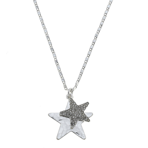 Star Pavé Charm Necklace in Worn Silver by Crave