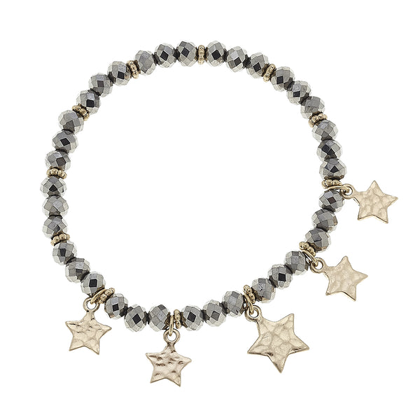 Beaded Glass Star Bracelet in Hematite