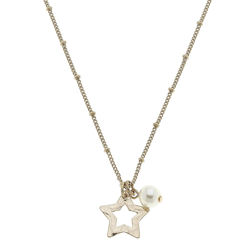 Star Pearl Charm Necklace in Worn Gold by Crave