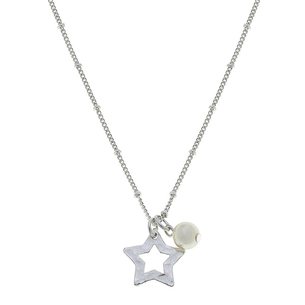 Star Pearl Charm Necklace in Worn Silver by Crave