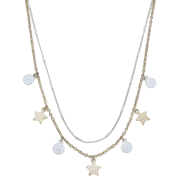 Layered Star Drip Necklace in Two-Tone by Crave