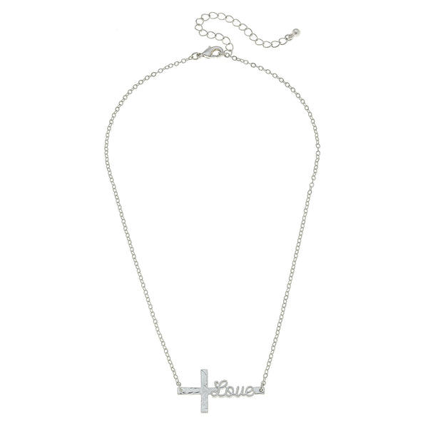 Love Script Necklace in Worn Silver