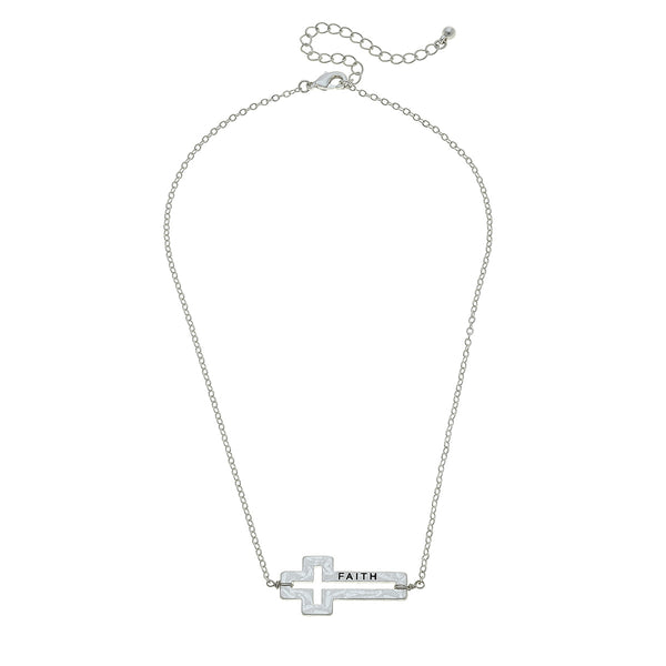 Faith Cross Necklace in Worn Silver
