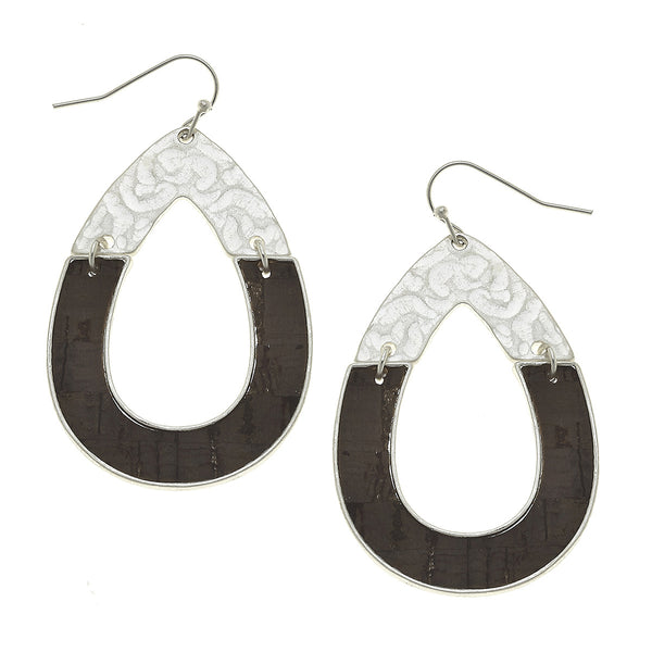 Cork Half Hammered Teardrop Earring in Worn Silver by Crave