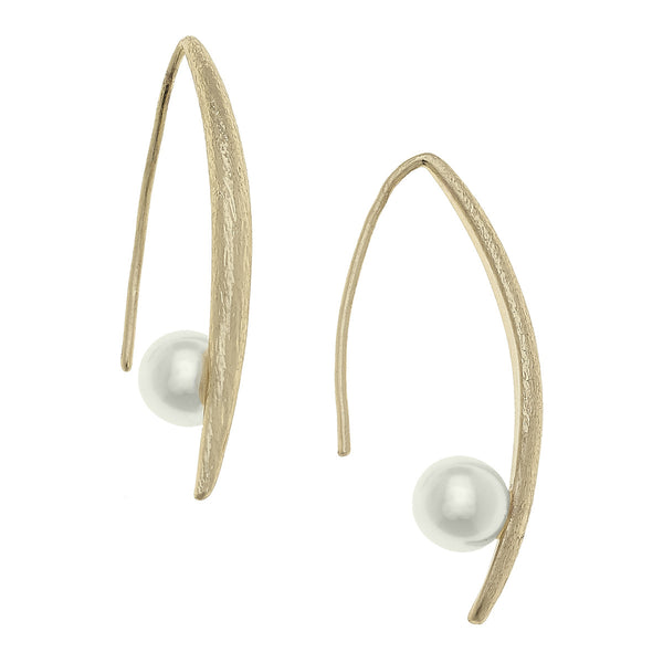 Charlotte Floating Pearl Earrings in Ivory