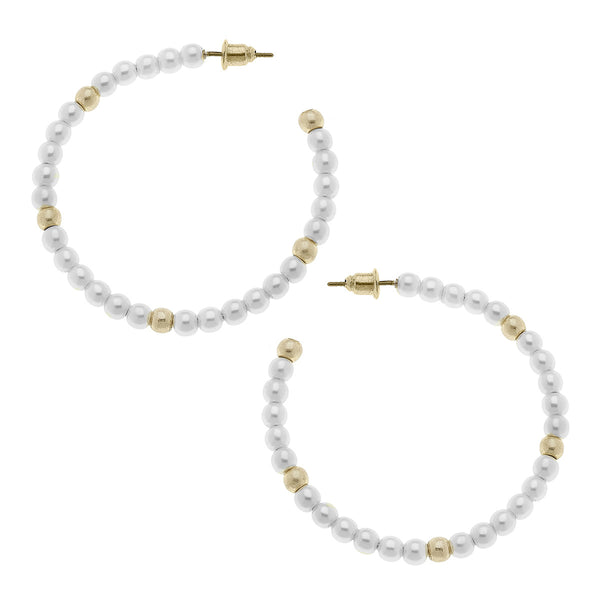 Allie Hoop Earrings in Ivory Pearl