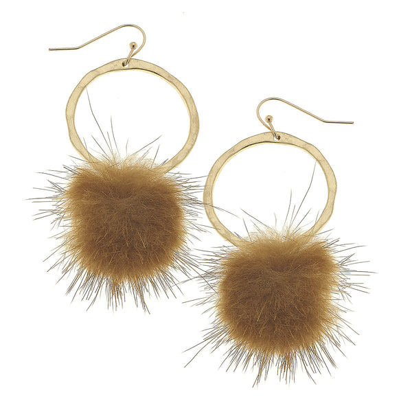 Mink Puff Drop Front Hoops in Brown by Crave