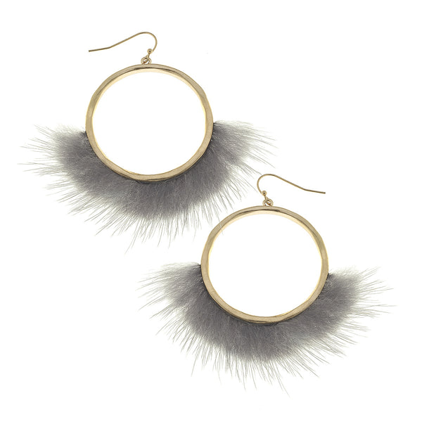 Mink Fringe Front Hoop in Grey by Crave