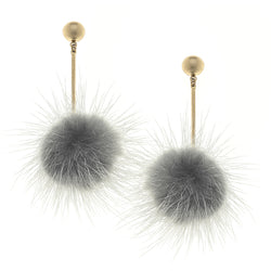 Mink Linear Puff Drop Earrings in Grey by Crave