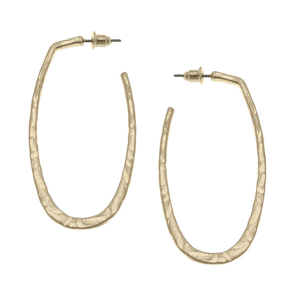 Hammered Elliptical Hoop Earrings in Worn Gold by Crave