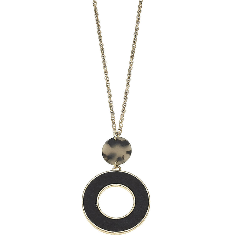Linked Pendant Necklace in Matte Grey Tortoise by Crave