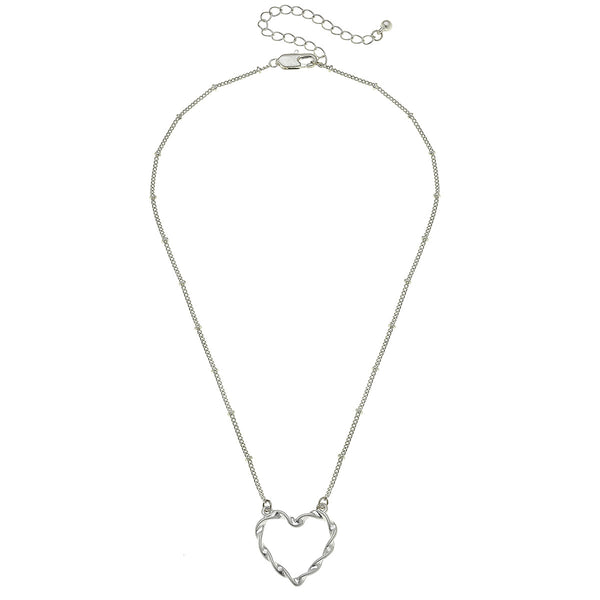 Heart Necklace in Worn Silver by Crave