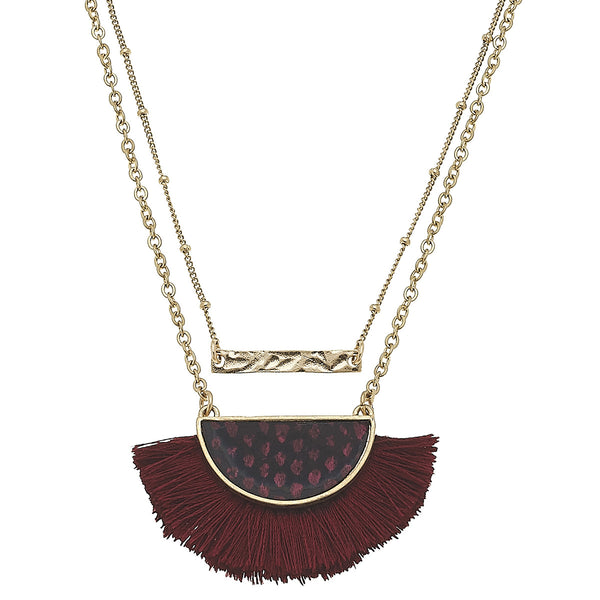 Layered Python-Print Tassel Necklace in Red